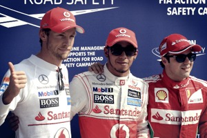 Button, Hamilton e Massa - F1 de 09.09.2012