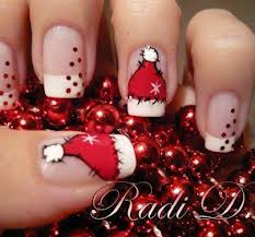 Unhas decoradas tocas do noel
