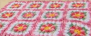 Modelo de Tapete em Flores e Flor de Crochê – Foto, Receita e Passo a Passo.