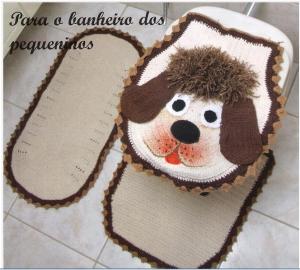 Tapete Jogo de Banheiro de Crochê Infantil Cachorrinho – Modelo, Foto, Gráfico.
