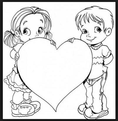 Desenhos para Colorir e Pintar Dias dos Pais. Coração