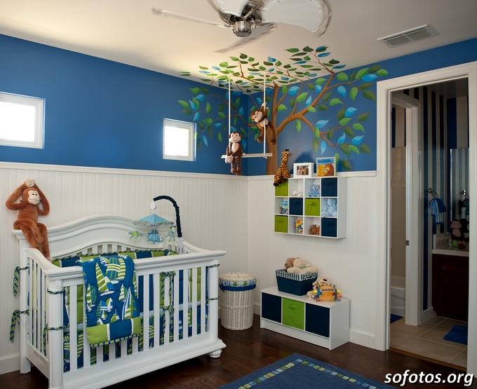 decoraçao-azul-macacos-quarto-bebe