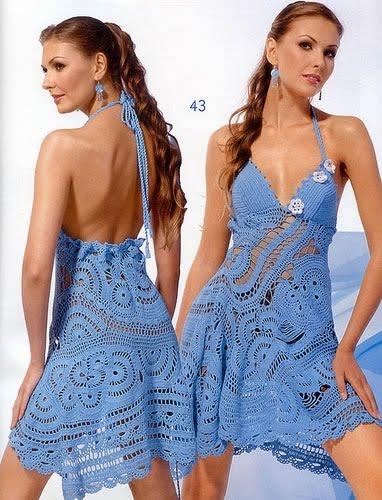 vestido azul de croche