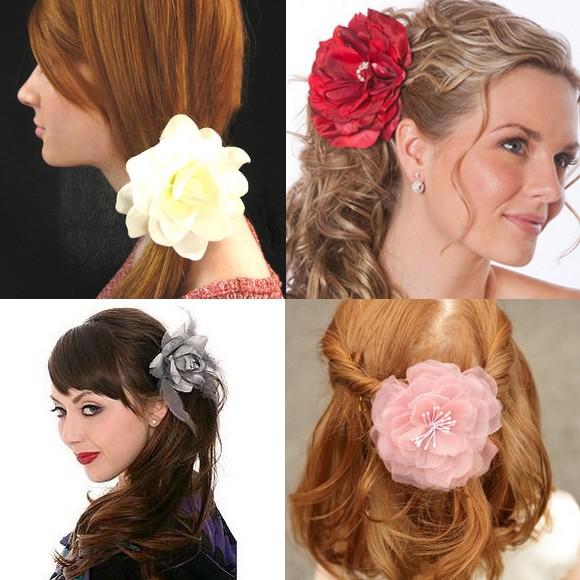 Flor no Cabelo Preso Moda Chique Flores no Cabelo   Tendência, Fotos e Como Usar