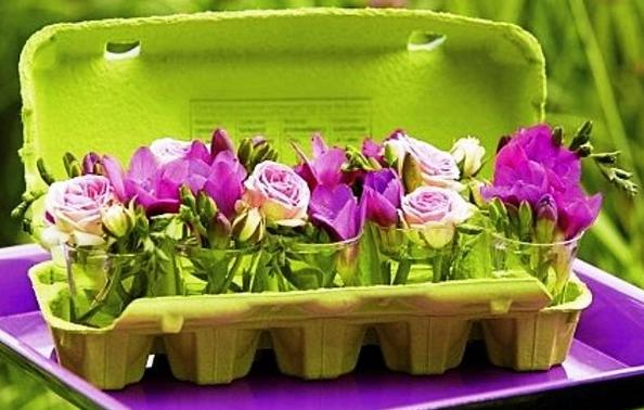 Decoração Para a Páscoa 2014 – Fotos e Como Fazer. Embalagem de ovos com flores Div