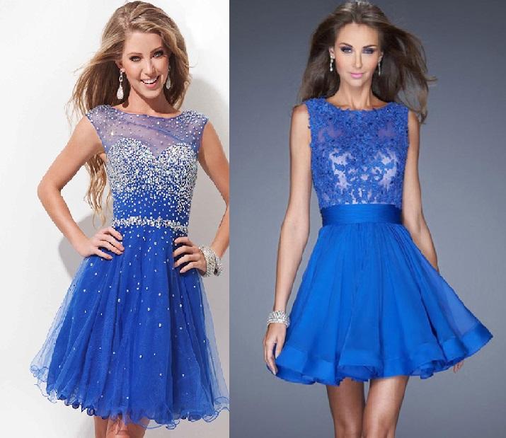 Vestido azul com branco curto